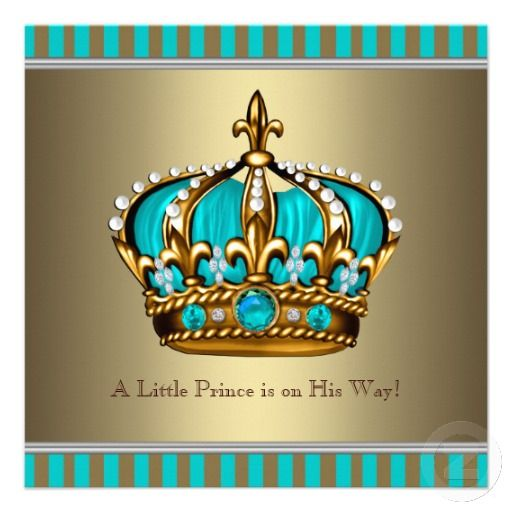Crowns For Baby Shower: Elegant Turquoise Blue And Gold Crown Little Prince Baby