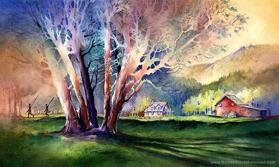 The Explorers - Watercolor Painting Print by Michael David Sorensen. Kids With Fishing Poles. Tree. Farm House. Barn. Negative Painting.