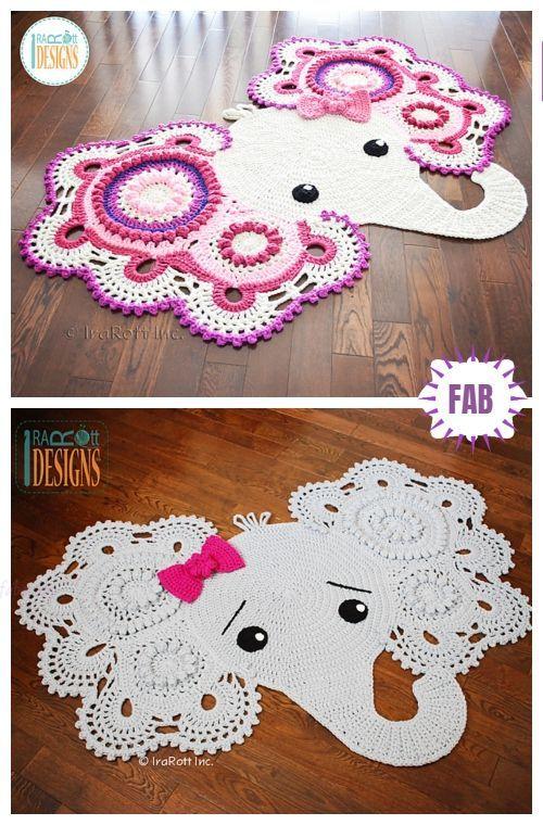 Crochet Elephant Rug Free Crochet Pattern In 2020 Crochet Rug Patterns Crochet Elephant Crochet Rug Patterns Free