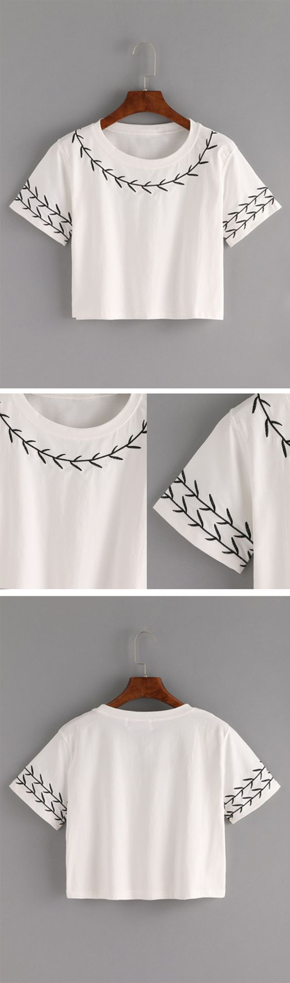 Branch embroidered crop t shirt white romwe women