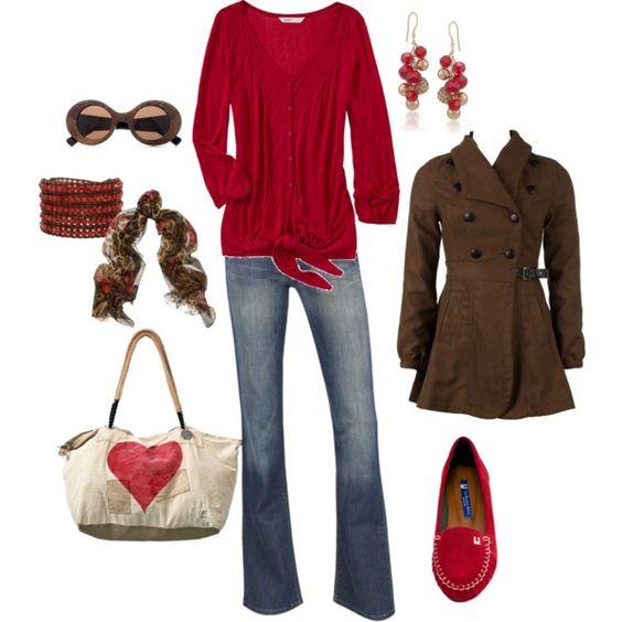 Lov this look. red and brown, created by kristen-344.polyvore.com
