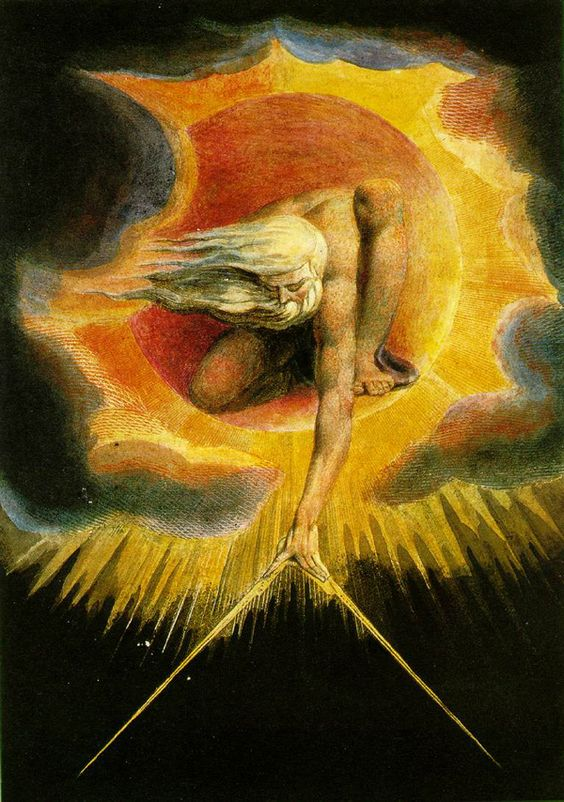 """William Blake. Elements of note are the flatness, the instrument that's both a compass and a square, the abstraction of the blocks of color, and the cosmic wind blowing the hair & beard.    The above etching/watercolor """"Ancient of Days"""" is from his 1794 prophetic book Europe a Prophecy."""