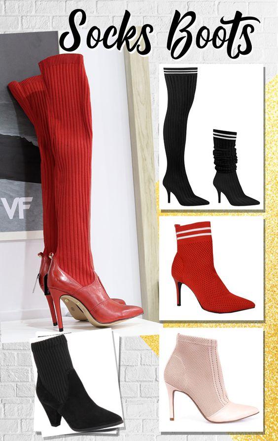 Socks Boots ou Bota Meia é um tipo de bota que é super ajustável no tornozelo e perna. Existe a versão mais longa que pode ser usada também mais dobrada parecendo uma polaina. Fica perfeito para um look com saia, vestido e uma pegada mais esportiva.