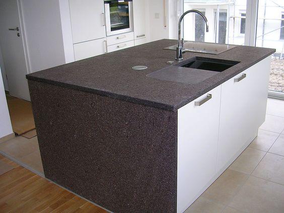 Kücheninsel mit Porphyr-Arbeitsplatte - Küchenarbeitsplatte - granit arbeitsplatte küche