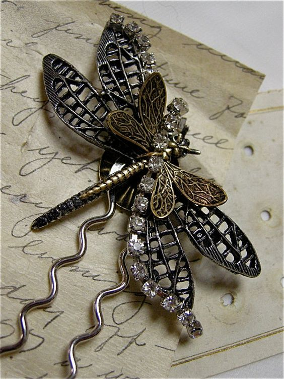 Large Dragonfly Hair Pin (featured in Insects and Angels Magazine!). Check it out here: http://etsy.com/shop/fernstreetdesigns  It's selling for $24