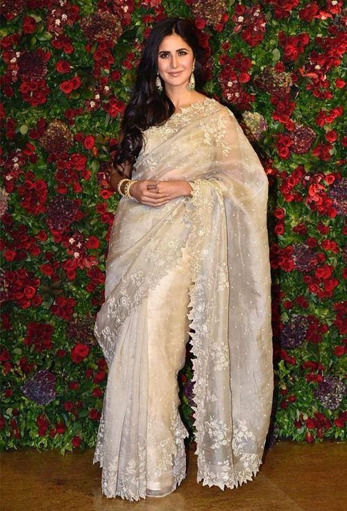 Katrina Kaif At Deepika Ranveer Wedding Reception Katrina Looked Simply Beautiful In A Cream Anushree Reddy Saree With S Katrina Kaif Saree Look Saree Trends