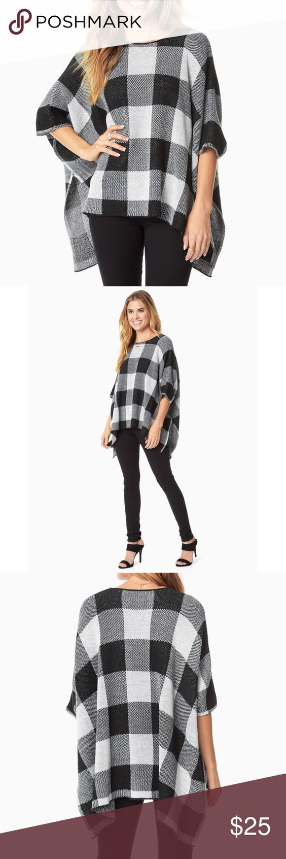 Oversized Gingham Poncho NWT. Never worn. Excellent condition. Lightweight. NO TRADES/PAYPAL Charming Charlie Sweaters Shrugs & Ponchos