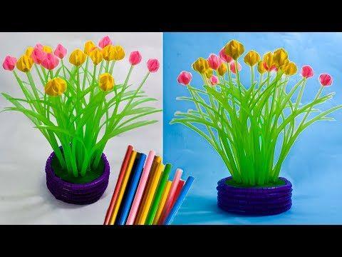 Cara Membuat Bunga Hiasan Meja Tamu Dari Sedotan Kreatif