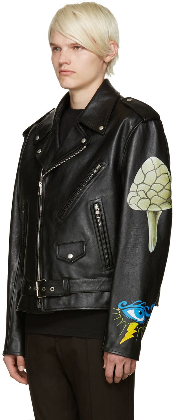 Loewe - Black Hand Painted Leather Jacket