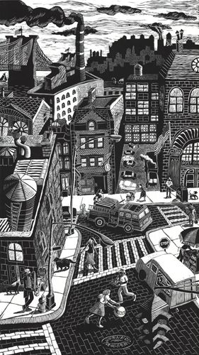 """Downtown"" linoleum block print by artist Karen Whitman. Her amazing, award-winning portfolio of cityscapes is featured on www.ArtsyShark.com"