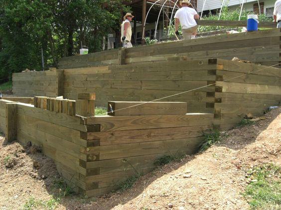 Diy slope terraces new home backyard pinterest for Diy terrace