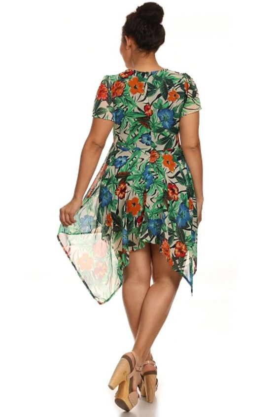 Tropical Floral Beige Short Sleeve Asymmetric Vacation Summer Plus Dress