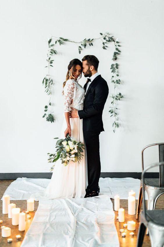 budget backyard wedding ceremony decorations minimalist backdrop garland