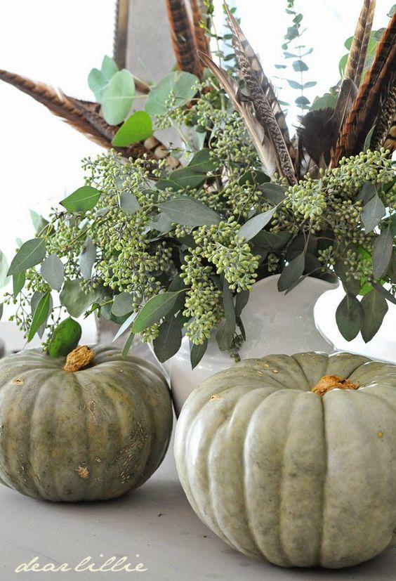 Seeded eucalyptus with pumpkins.