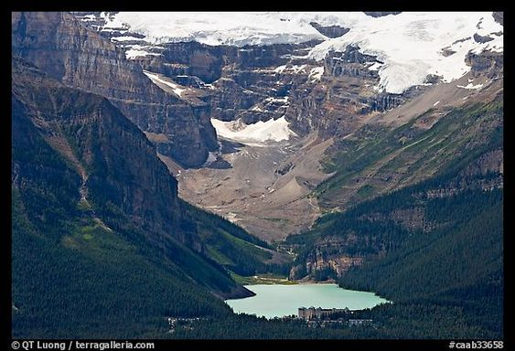 Distant view of Lake Louise and Chateau Lake Louise at the base of Victorial Peak. Banff National Park, Canadian Rockies, Alberta, Canada (color)