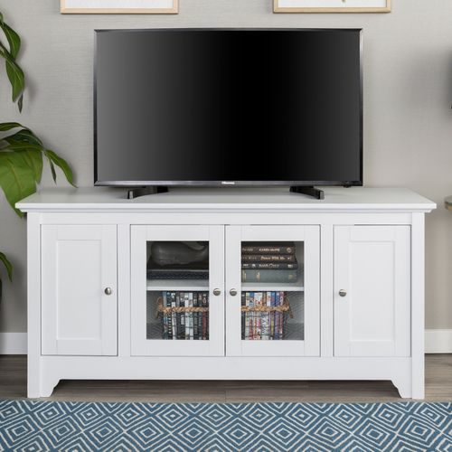 Modern White 52 Tv Stand With Glass Doors Tv Stand With Glass Doors Tv Stand Wood Tv Stand With Doors