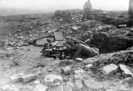 German troops using the minenwerfer as an anti-tank gun in October 1918