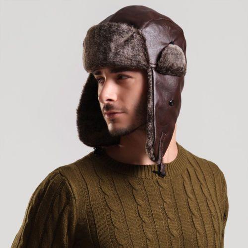 Real Fox Fur Russian Ushanka Hat Real leather Aviator Trapper Adjustale Ski Cap