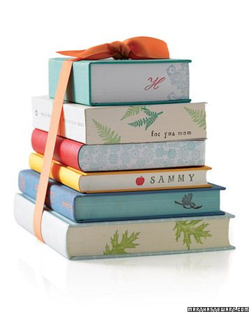 Stamped Book Pages  Stamped designs or messages on page edges add flair to a hardcover book.