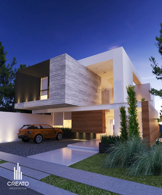 Vista frontal por creato arquitectos casas houses i - Arquitectura casas modernas ...