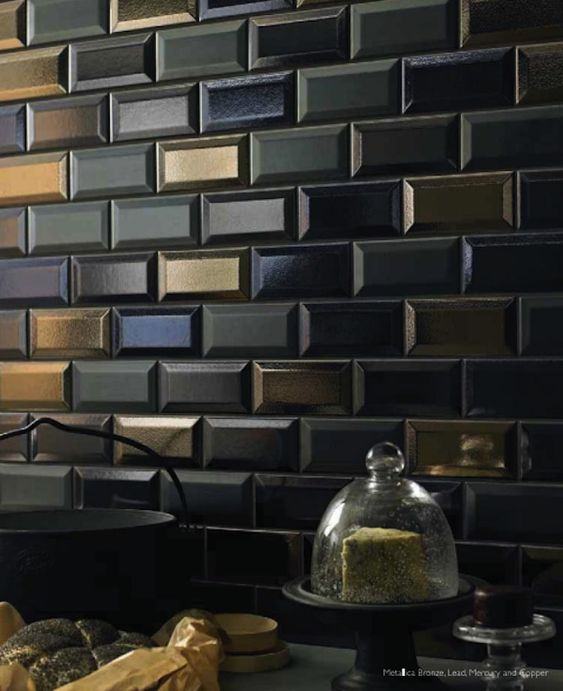 metallic wall tiles kitchen beveled subway tile in amp metallic glazes is fabulous 7479