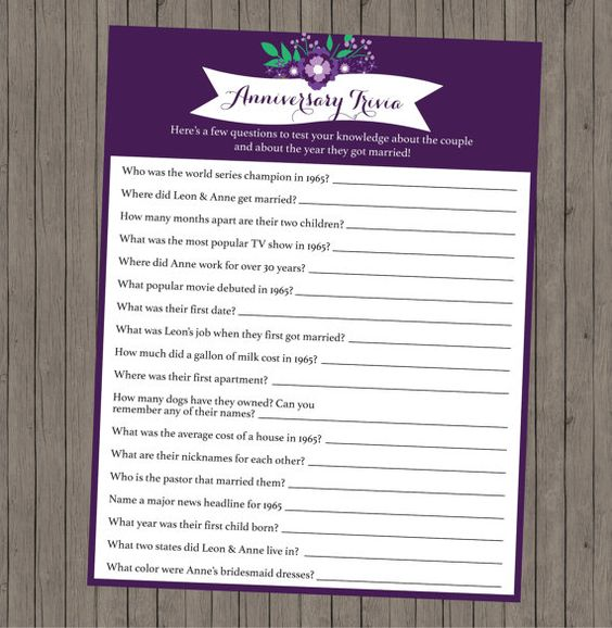 Trivia Anniversary Party Games And Anniversary Parties On
