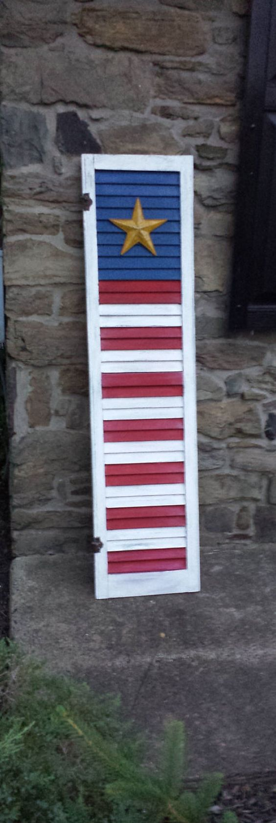 American flag shutter distressed vintage wood shutter pallet projects pinterest crafts for Arts and crafts exterior shutters