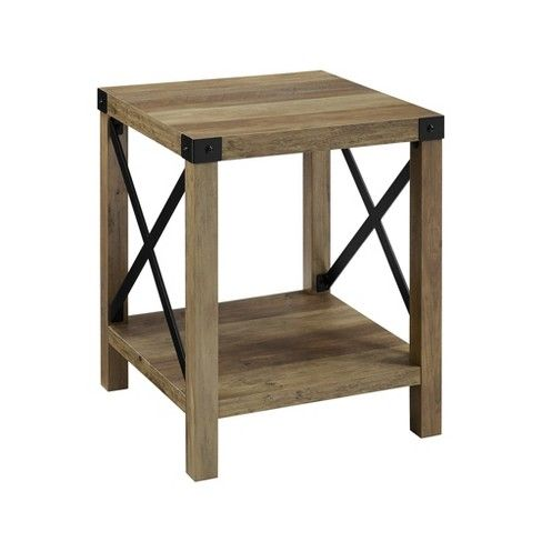 18 Rustic Farmhouse Metal X Frame Side Table With Wood And Metal Saracina Home Rustic Side Table Oak Side Table Accent Side Table