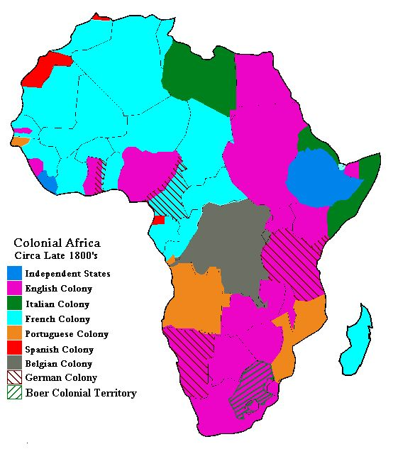 Map of Colonial Africa Circa Late 1800s  Information  websites