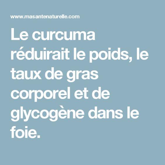 Le curcuma réduirait le poids, le taux de gras corporel et de glycogène dans le foie.