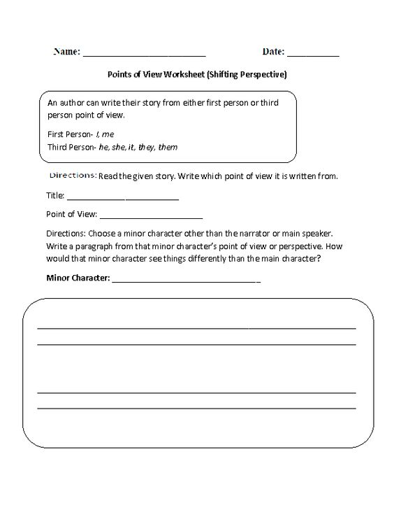All Worksheets » Point Of View Worksheets - Childern and Parenting ...