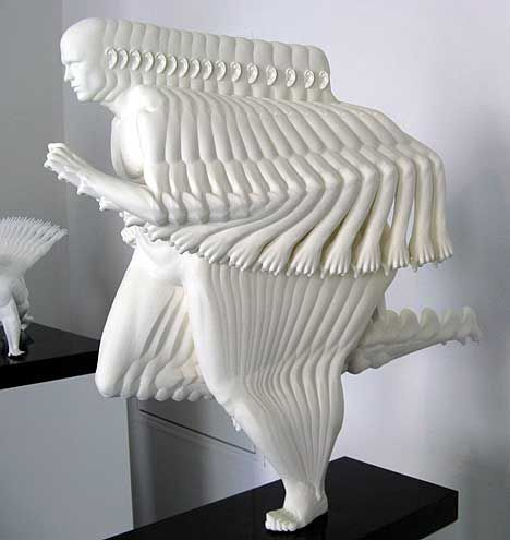 Peter jansen creates sculptures that focus on the body s for Body movement drawing