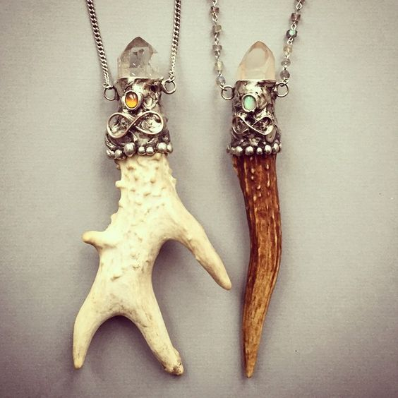 antler and crystal amulets by aurorashadow