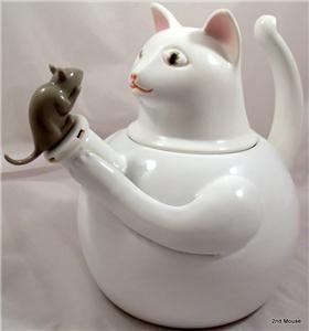 Vintage Cat Mouse Teapot Metal With Porcelain White Cat Gray Mouse Tea Pot