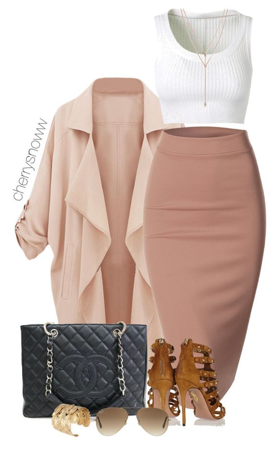 """""""Classy luxury outfit"""" by cherrysnoww ❤ liked on Polyvore featuring Doublju, Chanel, Aquazzura, Ray-Ban, Alaïa and Vince Camuto"""