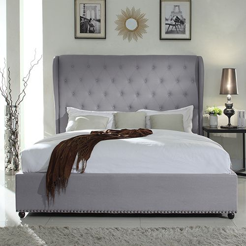 Paris Winged Fabric Bed With Diamond Tufted Detailing Bed Frame