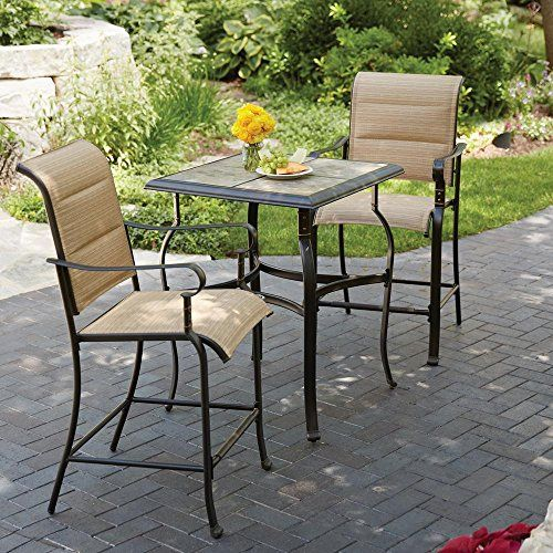 Firepit Makeover  Hampton Bay Belleville 3Piece Padded Sling Outdoor Bistro Set ** This is an Amazon Associate's Pin. Find out more on Amazon website by clicking the VISIT button.