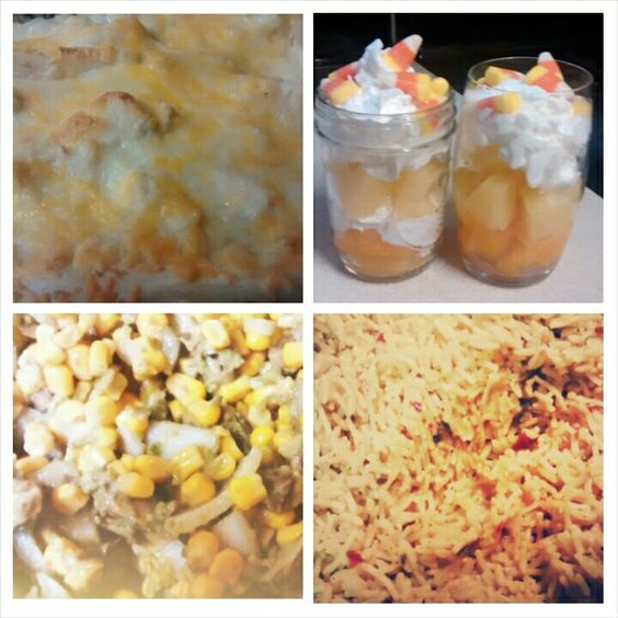White chicken enchiladas, corn guac, mexican rice, fall candy corn fruit dessert