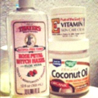 My 3 all natural Facial beauty secrets. The Rose Water Witch Hazel is great for red spots, evening out complexion, balancing the acid levels, cleans pores, and reduces the size of blackheads. The coconut oil can be used as a makeup remover, lip balm, great moisturizer, heals blemishes, and soooo much more. The vitamin E regenerates skin cells, tightens the skin, helps with preventing wrinkles, and moisturizers.