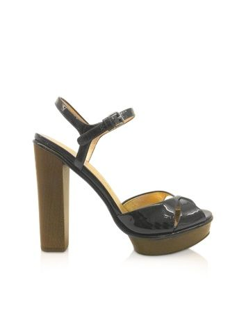 Dries - Black Patent Sandals - Black patent leather has a sleek uptown look, crafted into a double banded twist at the toe with simple summer elegance. Signature box included.