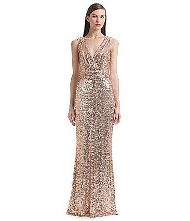 Belle Badgley Mischka Sleeveless V-Neck Sequined Gown - Sequin ...