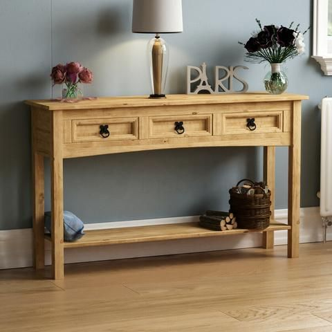 Tripe Solid Pine Wood Console Table In 2020 Wood Console Table