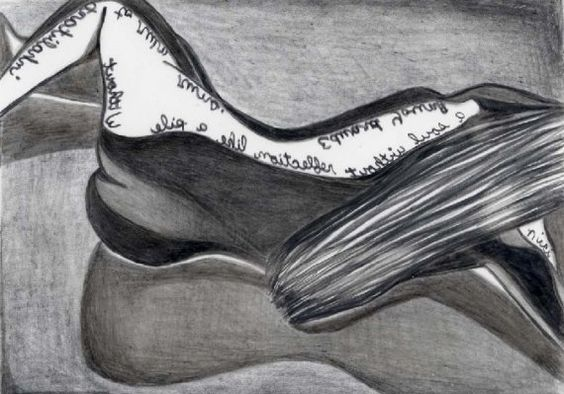 Reflection reclining female nude  with poet Edward Young quote by penciledbynicole #art #aceo #drawing #quote #poetry