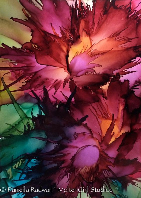 Wild Flowers  ~Alcohol Ink on Yupo paper Gicleé prints (8x10) & Art Cards available soon. Please contact me for pricing: