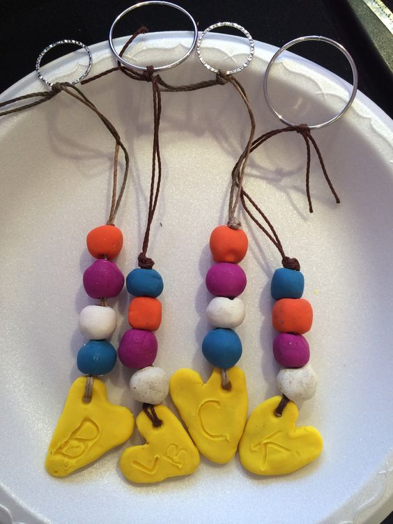 This wasn't a day home project but kids made their teachers key chains as a gift for the end of the school year.