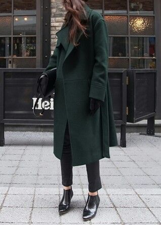 Deep Hunter Green coat with black cigarette pants & loafers:
