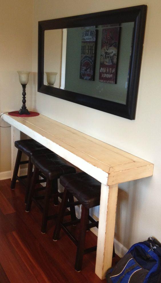 Dad Built This: Farmhouse Snack Bar - Buffet. So nice for a small area!
