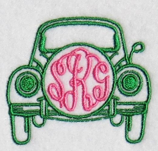 VW BUG Monogram Frame Embroidery Designs | Apex Embroidery Designs, Monogram Fonts & Alphabets