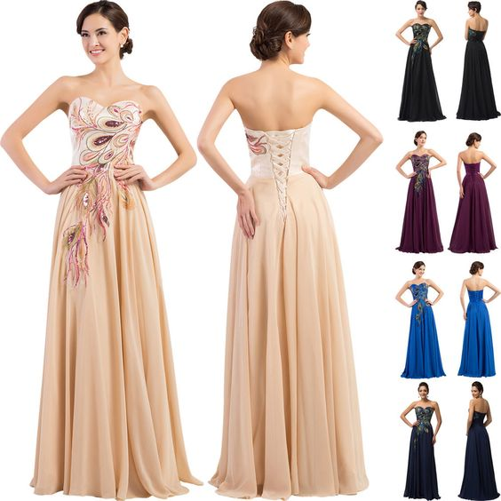 GK Sexy Chiffon Women Peacock Formal Long Bridesmaid Evening Prom Gown Dresses | eBay