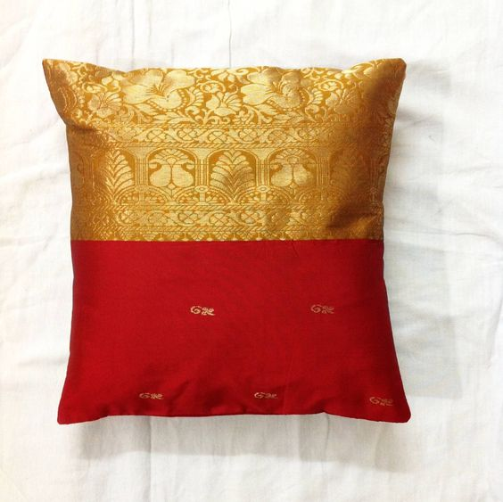 cushion covers of old silk saree